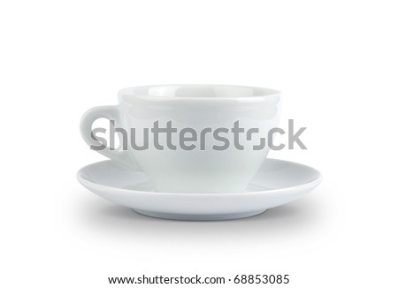 Cup and Saucer, isolated on white with path.