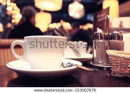 cup and teapot in cafe interior coffee tea utensils