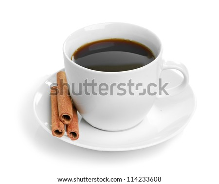 cup coffee with cinnamon isolated on white background
