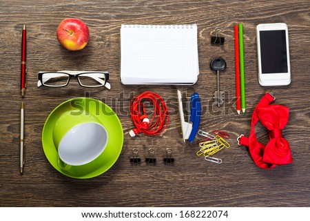 cup for coffee, notepad, cellphone, stationery, still life