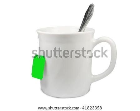 cup for tea or coffee with spoon isolated