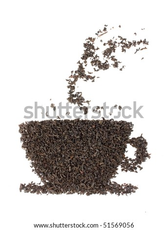 Cup made from tea leaf isolated on white - stock photo