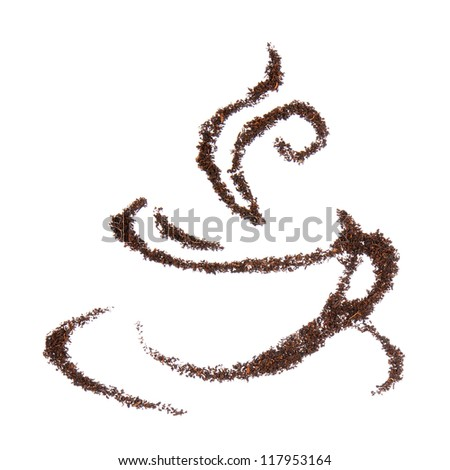 Cup made with black tea leaves isolated on white background - stock photo