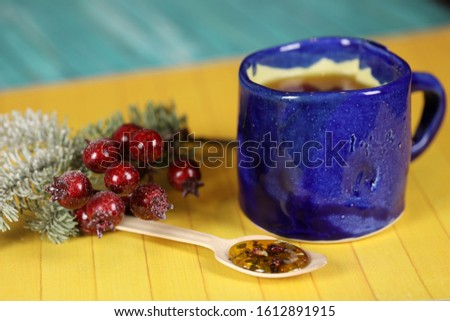 cup of aromatic herbal tea, healthy eating concept