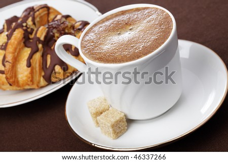 10.  Fatmagül'un sucu ne ? ~ General Discussions - Comentarii Stock-photo-cup-of-black-coffee-and-chocolate-croissant-46337266