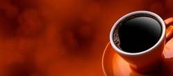 Cup of black coffee on bokeh background.