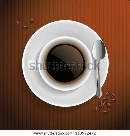 Cup of black coffee with coffee grain and spoon. On brown background.