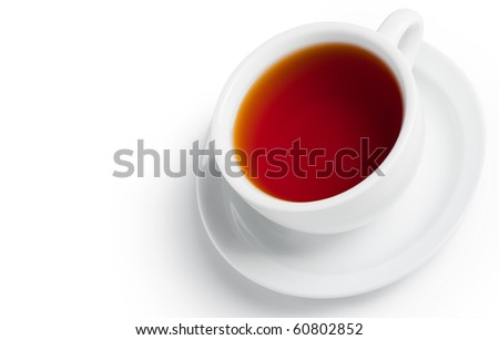 Cup of black tea. Isolated on white background