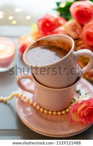 Cup of cacao drink close up, cosy cosy celebration of holiday event #1529121488