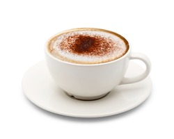 Cup of cappuccino coffee isolated on white background with clipping path.