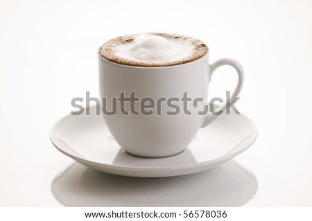 Cup of cappuccino isolated on white background