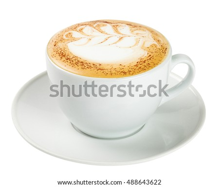 Cup of cappuccino isolated on white background. Include clipping path. Close up side view. #488643622