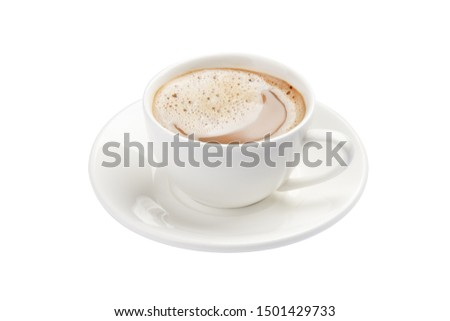 cup of cappuccino on a white background