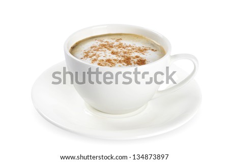 Cup of cappuccino with cinnamon isolated on white background. Clipping path included.