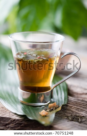 Cup of chinese green tea in glass