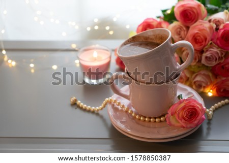 Cup of chocolate drink, cosy cosy celebration of holiday event #1578850387