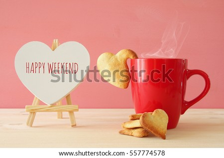 Cup of coffe and heart shape cookies