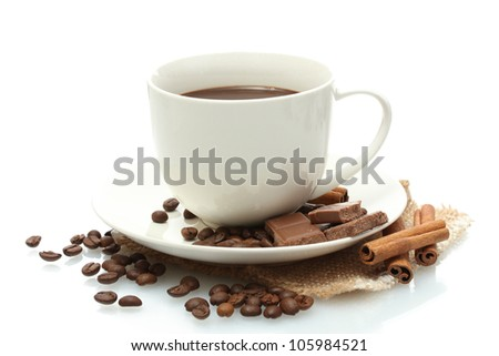 cup of coffee and beans, cinnamon sticks and chocolate isolated on white