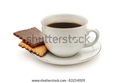 Cup of coffee and biscuit isolated on the white background