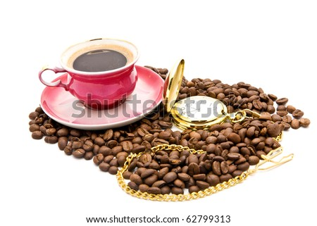 cup of coffee and clock on a white background
