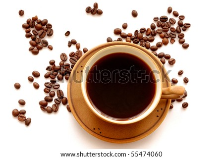 Cup of coffee and coffee-beans