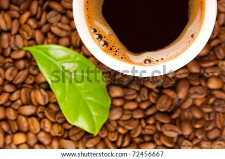 Cup of coffee and coffee beans with green leaf of coffee plant. Focus on cup