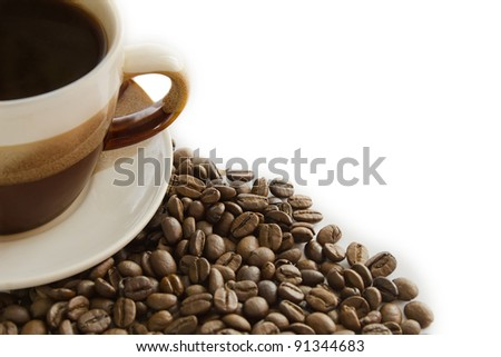 Cup of coffee and grain with diagonal position