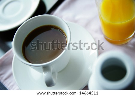 cup of coffee and orange juice