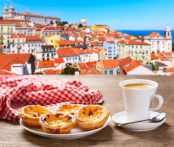 cup of coffee and plate of traditional portuguese pastries - Pastel de nata, over Alfama district, lisbon, Portugal