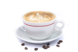 cup of coffee art latte or cappuccino on white background