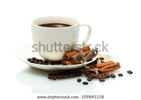 cup of coffee, beans and cinnamon sticks isolated on white