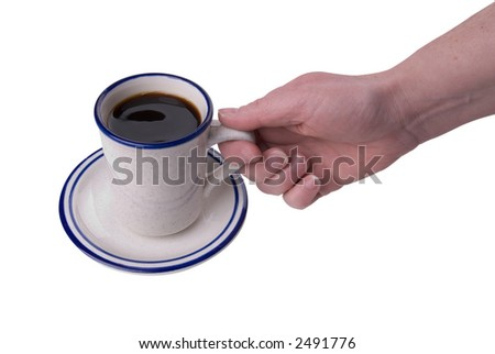 cup of coffee being picked up isolated on white background