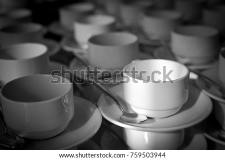 Cup of coffee, black and white.