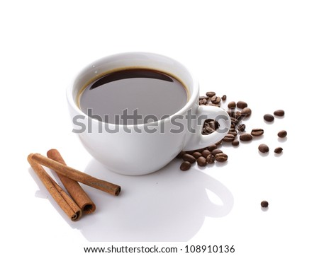cup of coffee, cinnamon and coffee beans isolated on white
