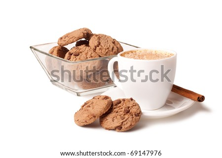 cup of coffee, cinnamon stick and chocolate chip cookies on white background - stock photo