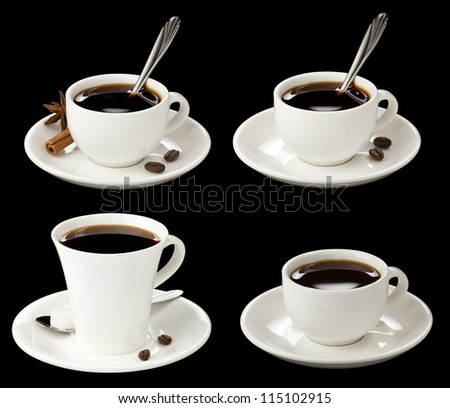 cup of coffee collage with beans isolated on black background