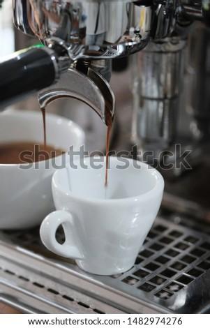 Cup of coffee espresso with espresso machine #1482974276