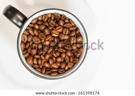 Cup of coffee fried beans - stock photo