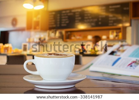cup of coffee in coffee shop.
