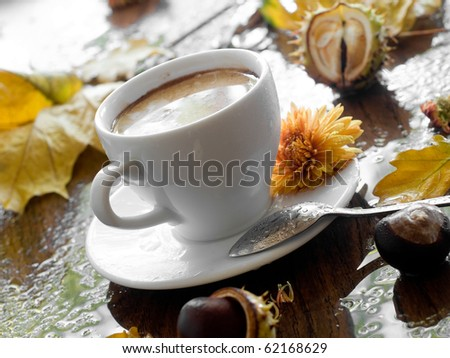 Cup of coffee in rainy day