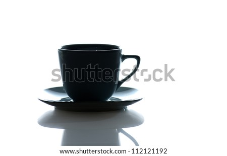 Cup  of coffee isolated against a  white background