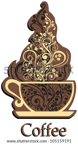 Cup of coffee isolated on White background.  illustration