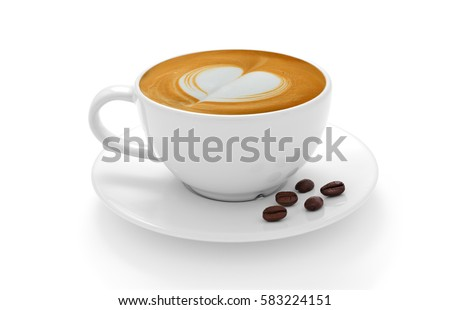 Cup of coffee latte and coffee beans isolated on white background #583224151