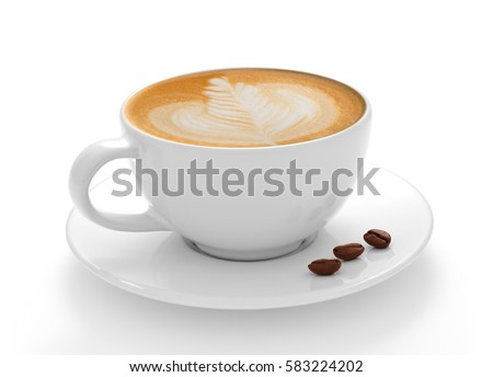 Cup of coffee latte and coffee beans isolated on white background #583224202