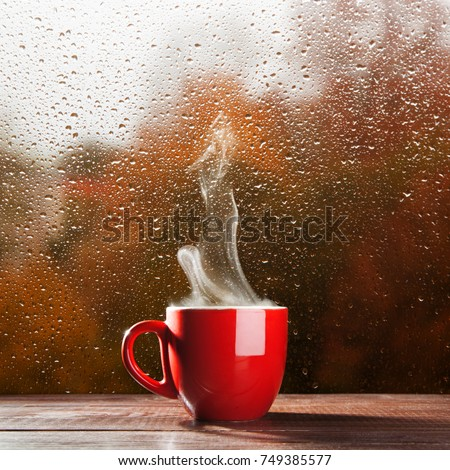 Cup of coffee on a rainy day #749385577
