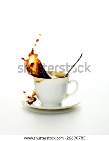 Cup of coffee on a white background. Splash in a liquid.