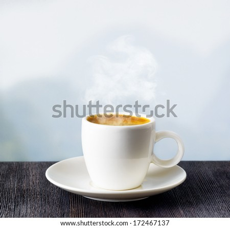 Cup of coffee on highlands background.