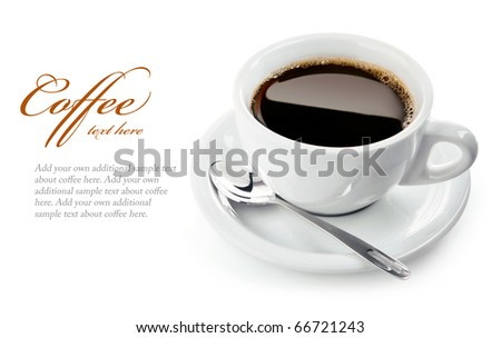 cup of coffee on saucer with spoon isolated on white background