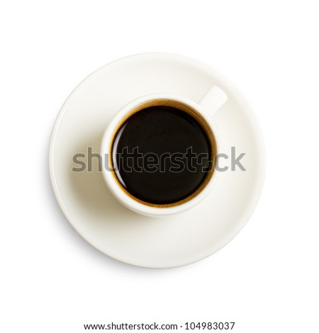 Cup of coffee on white with shadow, top view