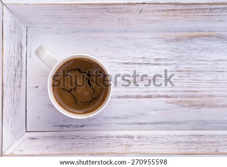 cup of coffee on white wooden salver, Coffee cup top view on wooden table background